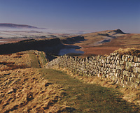 Hadrian`s Wall and Crag Lough from Hotbank Crags