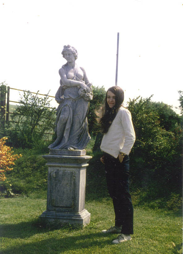 Christine with statue